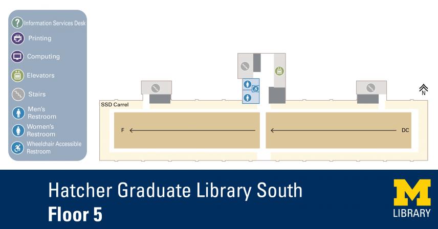 Floor Plan of Graduate Library South Fifth Floor
