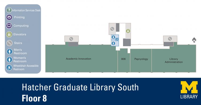 Floor Plan of Graduate Library South Eighth Floor