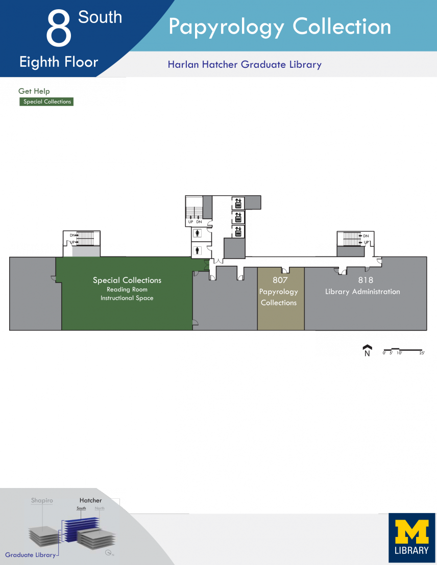 Map image of the Hatcher Library 8th floor