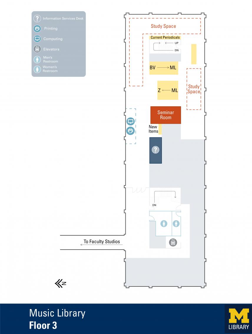 Floor Plan of Music Library Third Floor
