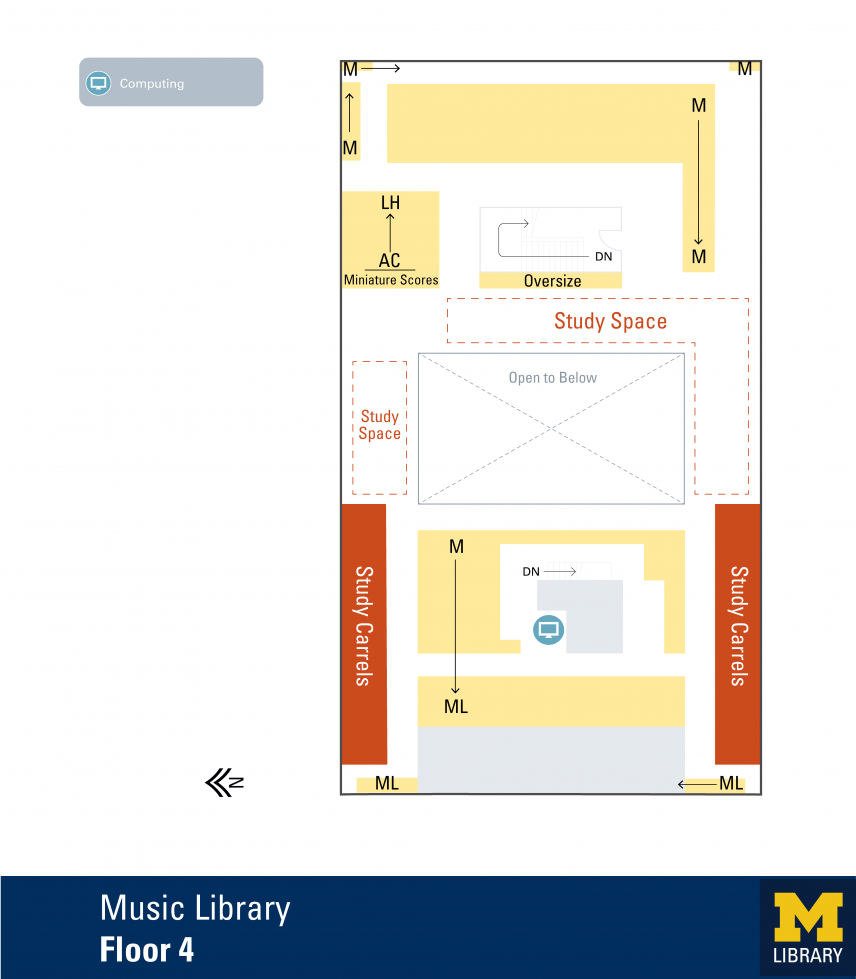 Floor Plan of Music Library Fourth Floor