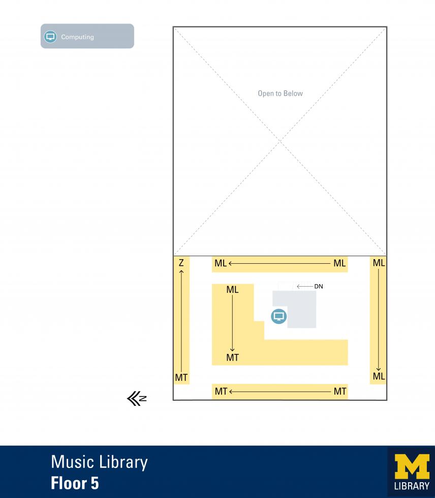 Floor Plan of Music Library Fifth Floor