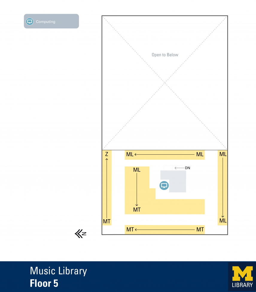 Floor Plan of Music Library Fifth Floor