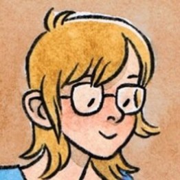 A cartoon drawing of a person with shoulder length blond hair wearing glasses and smiling slightly. The cartoon person has a very pleasant face.