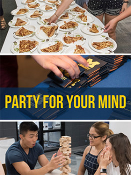 A collage 3 images: a table with plates of pizza; hands taking post it notes with the M Library logo on them; and three students playing jenga