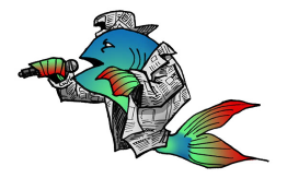 cartoon of a fish singing into a handheld mic while wearing a hat and jacket made of newspaper