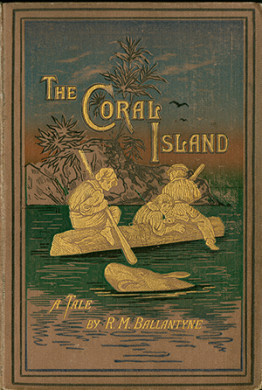 book cover with three people riding a log on a river