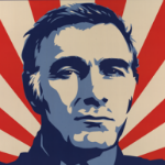 Shepard Fairey illustration of John Sayles' face.