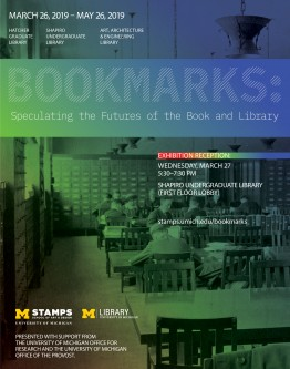 Image of an old library reading room with card catalogs, overlaid with a colorful gradient and text about the exhibit