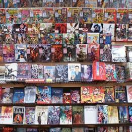 wall of comic books