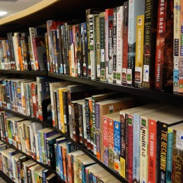 popular fiction books on a shelf