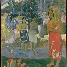 painting of a tahitian mary and jesus with people looking on