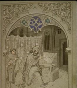 Sir John Mandeville writing his travel book