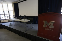 A panel layout on a stage with table, microphones, lectern and projector screen.