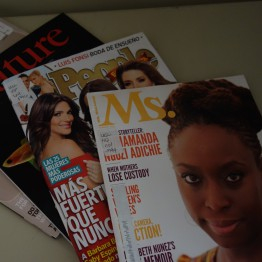 magazines in image: Ms., People en espanol, Nature, Psychology Today