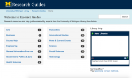 screenshot of research guides homepage