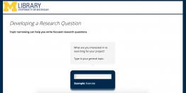 screenshot of research question generator