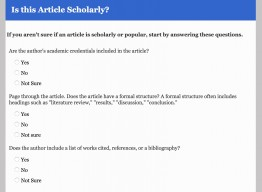 screenshot of scholarly article tool