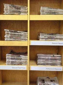 Newspaper cabinets in the Serials department
