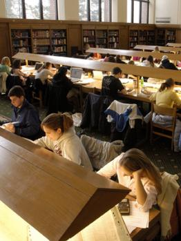 Photo of people studying in the Hatcher Reading Room