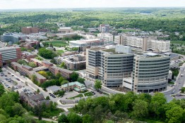Aerial photo of U-M hospital