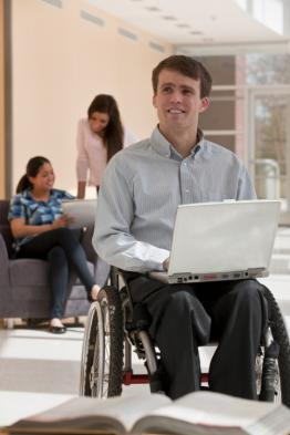Photo of patron in a wheelchair.