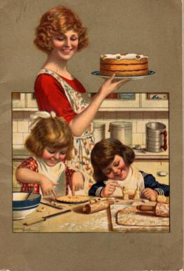 Scan of Pet Milk Cookbook showing mother and daughters baking.