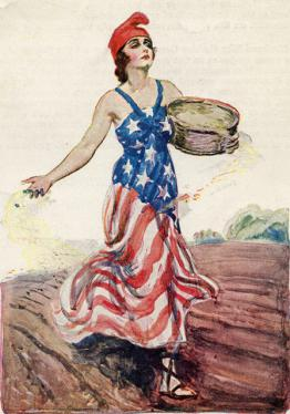 Scan of cover detail from a 1919 book on war gardening featuring woman in an American flag dress.