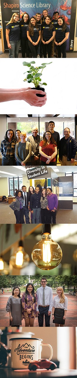 collage of images featuring diverse groups of students in the libraries and images representing inspiration