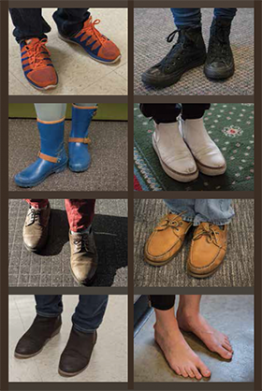 Images of feet from around the library