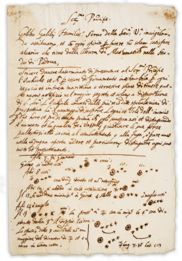 Photo of the Galileo manuscript