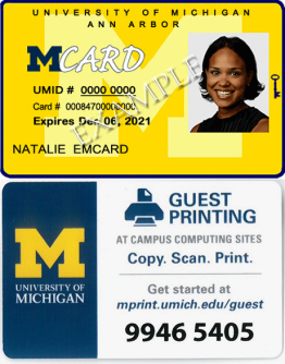 Images of a sample MCard and sample Guest Printing card.