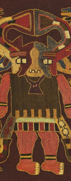 """Textile figure from """"Paracas: Unpublished Treasures of Ancient Peru""""."""