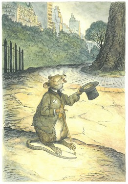 Illustration of a mouse in a suit coat, holding a top hat and a walking cane, with a cityscape in the background