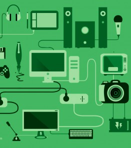 decorative image featuring computers, cameras, microphones, pens