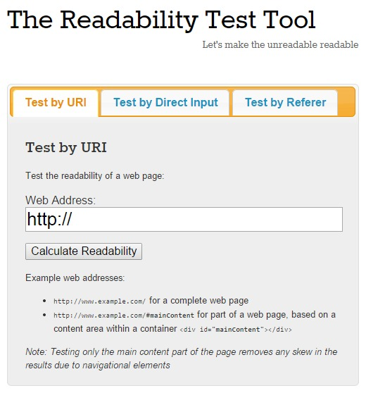 Screenshot of the Readability Test Tool