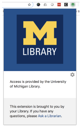 Box that opens with U-M Library logo and a statement about access being provided through the library and to contact Ask a Librarian for help.