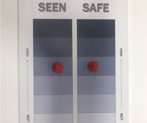 Two columns, one labeled Seen and the other labeled Safe, with a gray scale gradient.