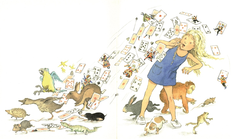 Alice surrounded by the playing cards and creatures of Wonderland