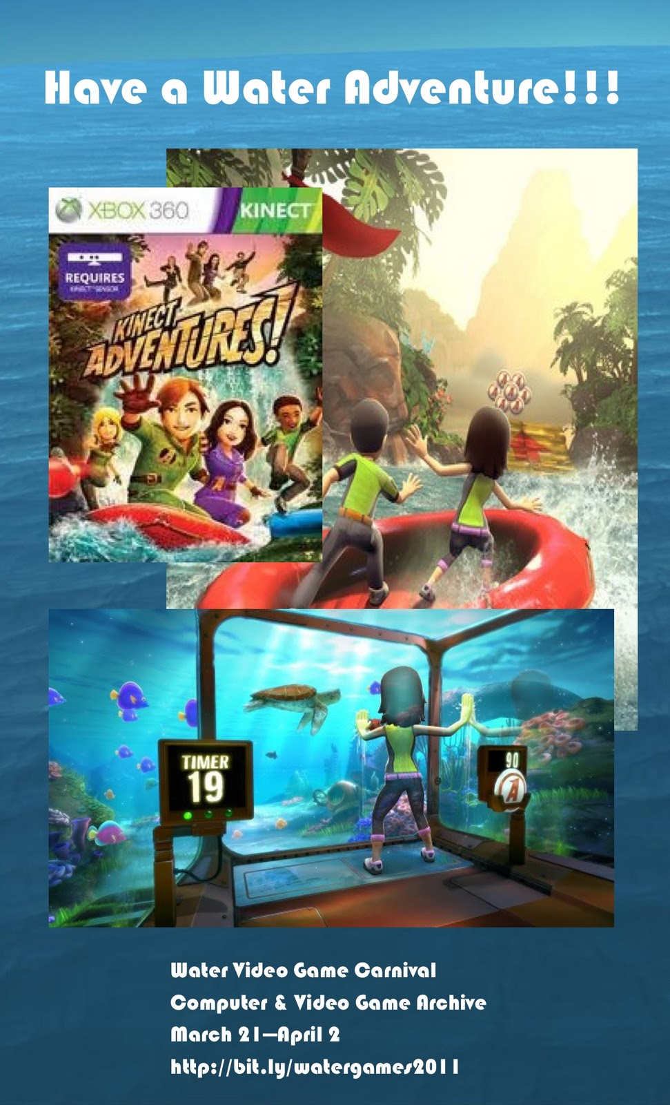 Poster/flyer for the upcoming Water Video Game Carnival.
